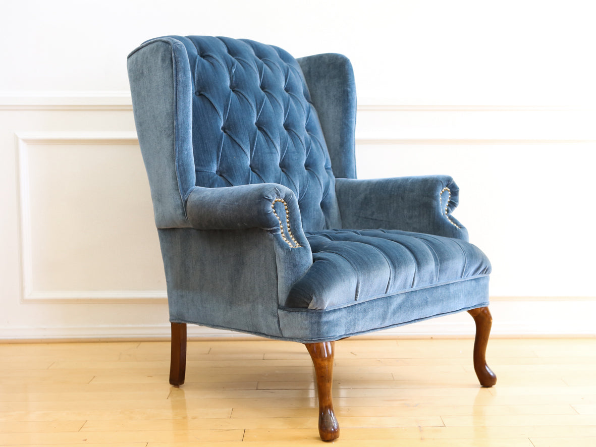 Vintage Blue Navy Tufted Velvet Wingback Chair No 630 - ShopGoldenPineapple  sc 1 st  ShopGoldenPineapple : blue velvet wingback chair - Cheerinfomania.Com