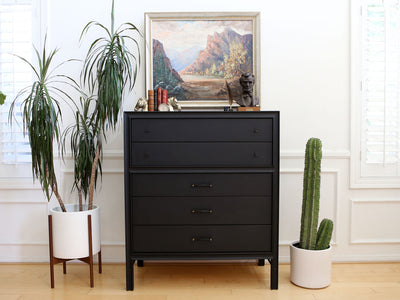 Vintage Classic Mid Century Modern Black Highboy Dresser by United Furniture No 635 - ShopGoldenPineapple