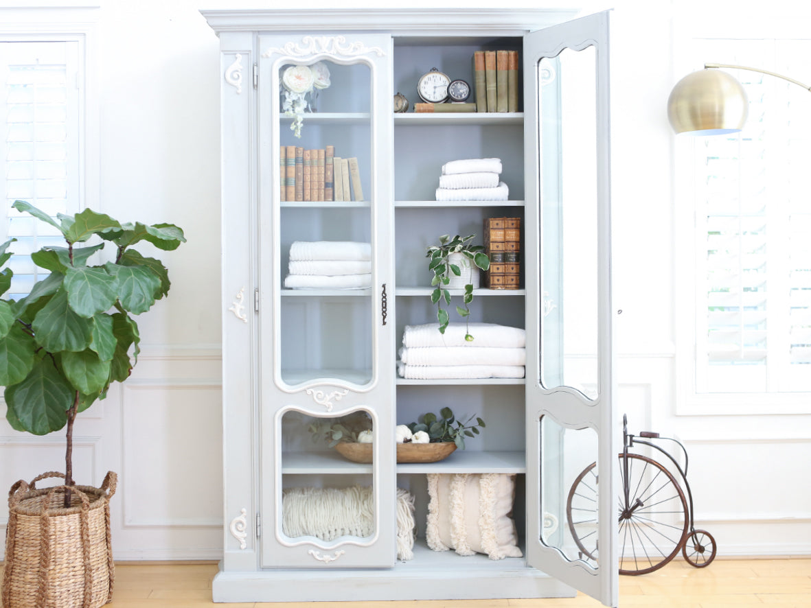 Old European Linen Armoire or Bookcase No 645 - ShopGoldenPineapple