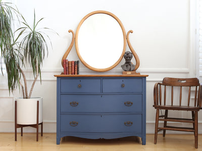 Antique Blue Dresser with Mirror No 662 - ShopGoldenPineapple