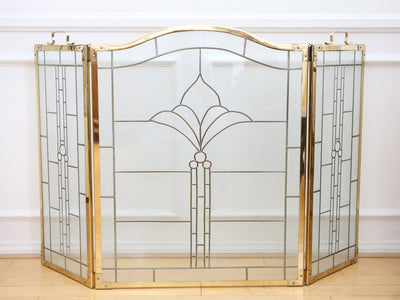 Vintage Hollywood Regency Brass Leaded Glass Folding Fireplace Screen No 664 - ShopGoldenPineapple