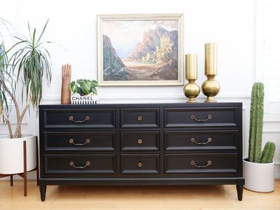 Hollywood Regency Black Modern Dresser No 666 - ShopGoldenPineapple