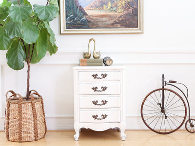 French Provincial Vintage White Single NightStand / Side Table / End Table No671 - ShopGoldenPineapple