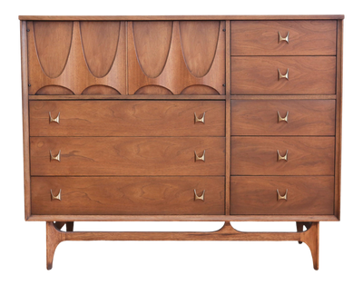 Broyhill Brasilia Magna Sculpted Walnut Dresser Chest - ShopGoldenPineapple