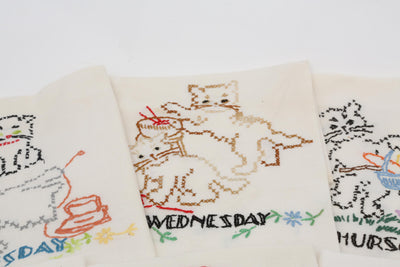 Cat Motif Hand Embroidered Dish Towels - Set of 11 - ShopGoldenPineapple