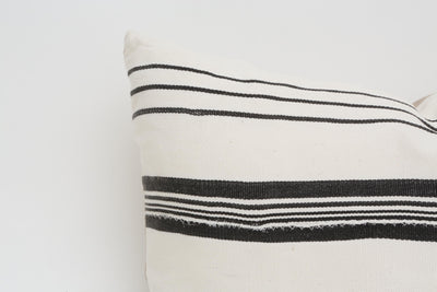 African Mudcloth Pillow, Black & White Striped 19x13 No P2 - ShopGoldenPineapple