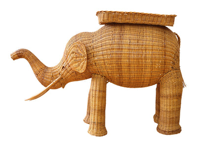 Vintage Rattan Wicker Elephant Side Table No 686 - ShopGoldenPineapple