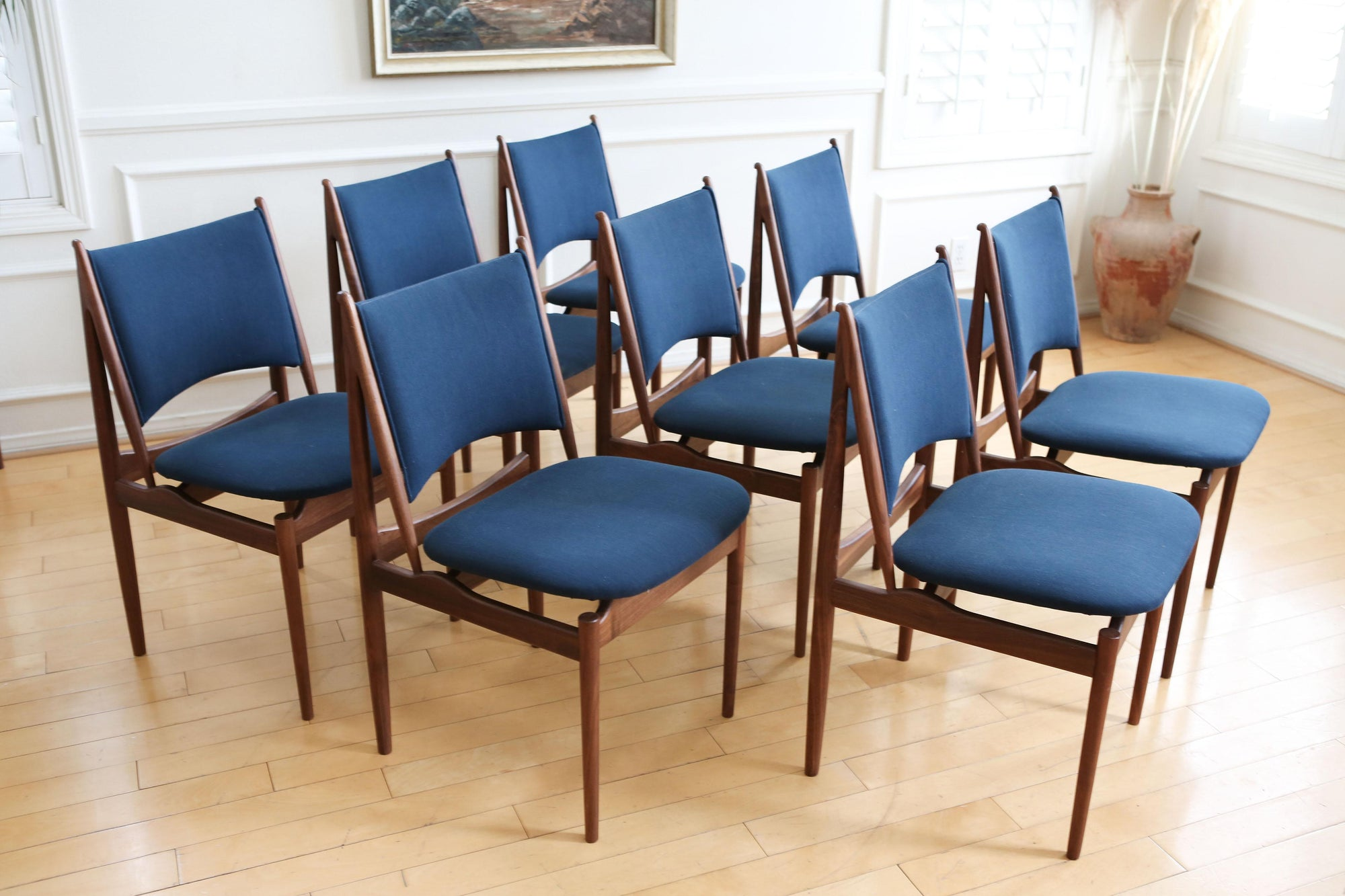 Mid Century Modern Teak Dining Chairs In Navy Blue   Set Of 8 No 627    ShopGoldenPineapple