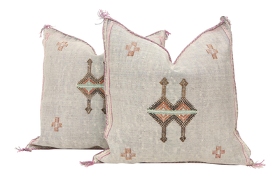 Moroccan Sabra Cactus Silk Pillow Cover - a Pair No P762p - ShopGoldenPineapple