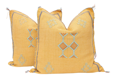 Moroccan Sabra Cactus Silk Pillow Cover - a Pair No P754p - ShopGoldenPineapple