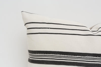 Vintage African Mudcloth Pillow Striped Lumbar, Black & White Striped 19x13 - ShopGoldenPineapple