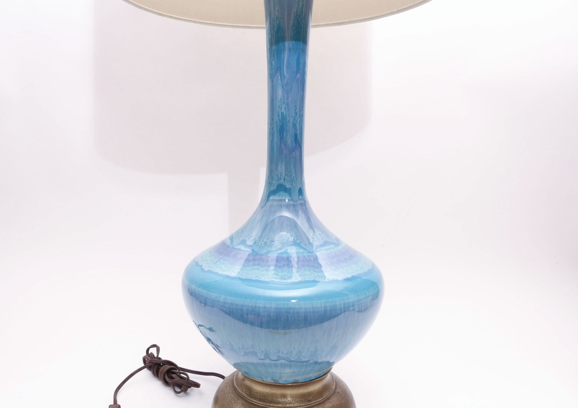 Image of: Vintage Large Mid Century Modern Glazed Pottery Blue Lamp By Phil Mar Shopgoldenpineapple