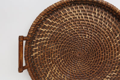 Reserved Vintage Oversize large Wicker & Bamboo tray - ShopGoldenPineapple
