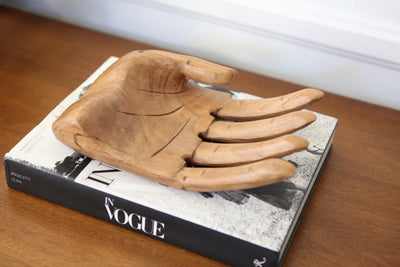 Vintage Oversized Carved Wood Human Hand Sculpture Tray