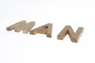 Vintage Solid Brass Letter M A N Paper weights / Sign - Set of 3 letters - ShopGoldenPineapple