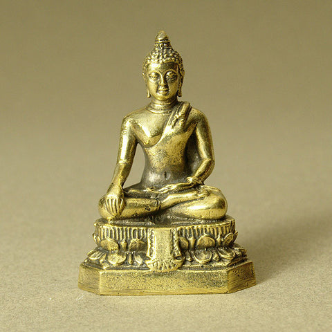 Buddha Sakyamuni brass statue for meditation and altar. Represents enlightenment, awareness, mindfulness