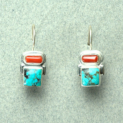 Earrings, Sterling Silver w/Gemstones