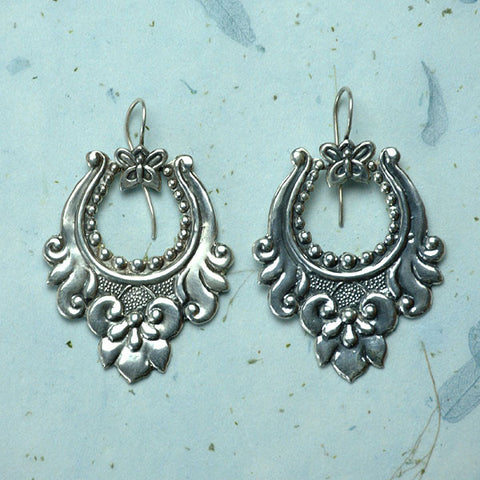 Lotus flower sterling silver earrings from Nepal