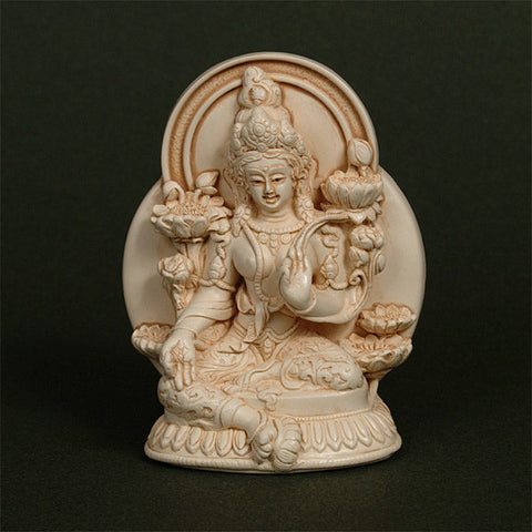 Green Tara, Buddhist goddess of compassion, in small resin sculpture from Mission Studios