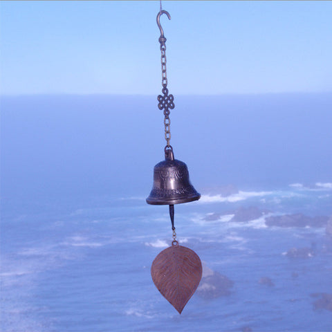 Windchime in Tibetan Buddhist style, with brass bodhi leaf to catch the wind.