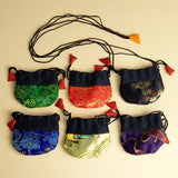 Drawstring Nepali thialies (bags or pouches) with neckstrap for jewelry, stones, small gifts