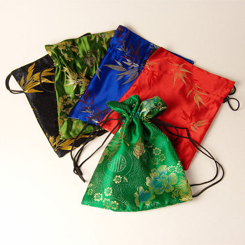Drawstring silk/rayon bags, with shoulder strap, from Nepal.