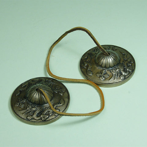 Tibetan Buddhist meditation bells in smaller size, embossed with two dragons