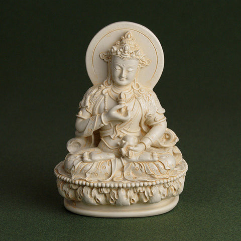 vajrasattva resin statue from Tibetan Buddhist tradition, shown holding bell (ghanta) and dorje.