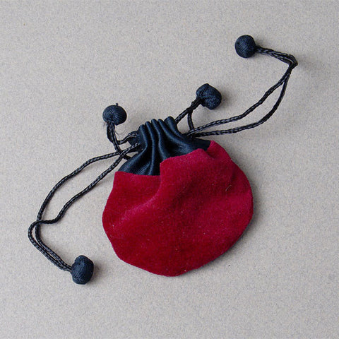 Drawstring velvetine pouch (bag, thiali) from Nepal