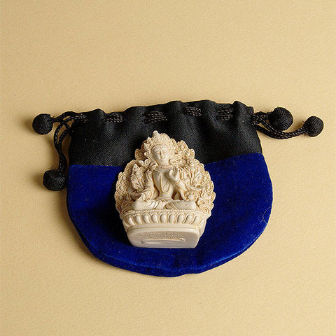 Velvetine drawstring thiali (bag or pouch) from Nepal for holding small gifts