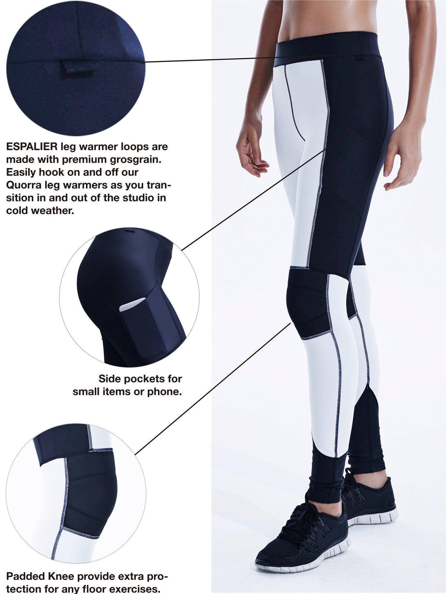 Axis Leggings  in White Black