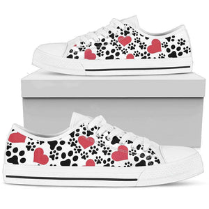 Women`s Low Top LOVE & PAW PRINT Shoes