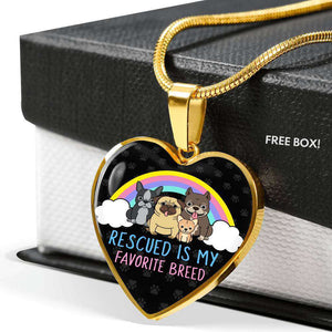 "LIFE IS COMPLETE WITH DOGS ""RESCUED IS MY FAVORITE BREED"" NECKLACE"
