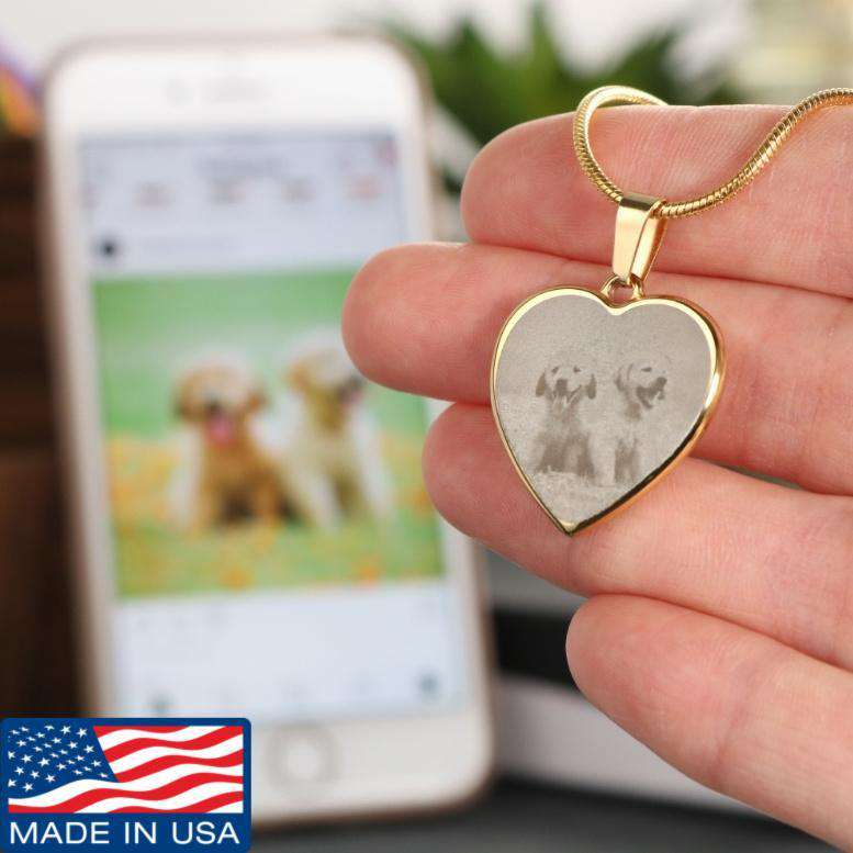 Personalized Photo Heart Necklace - Life is complete with Dogs