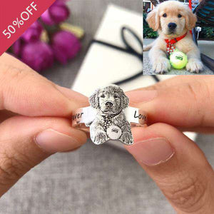 Personalized Pet Photo Ring in Premium Silver