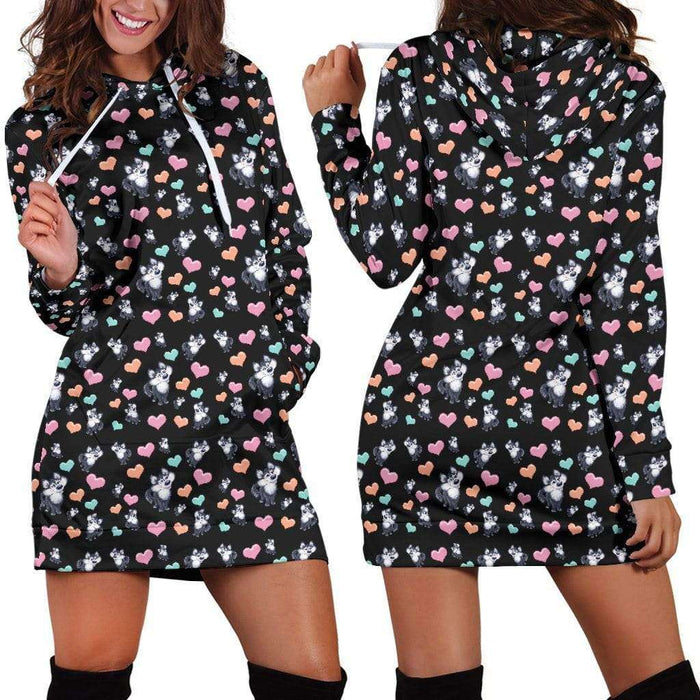 Snow Dog Womens Hoodie Dress - Life is complete with Dogs