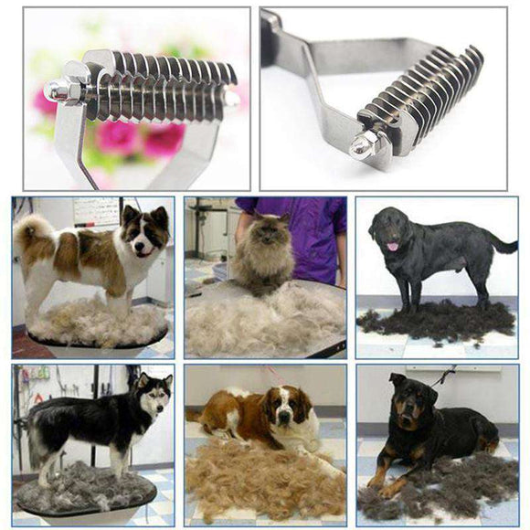 Double Sided De-Matting Tool with 13 Blades - Life is complete with Dogs