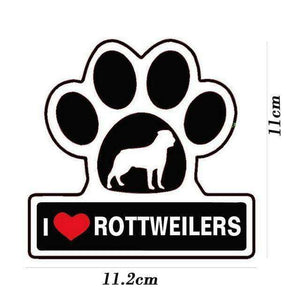 I LOVE ROTTWEILER DOG Paw Decal - Life is complete with Dogs