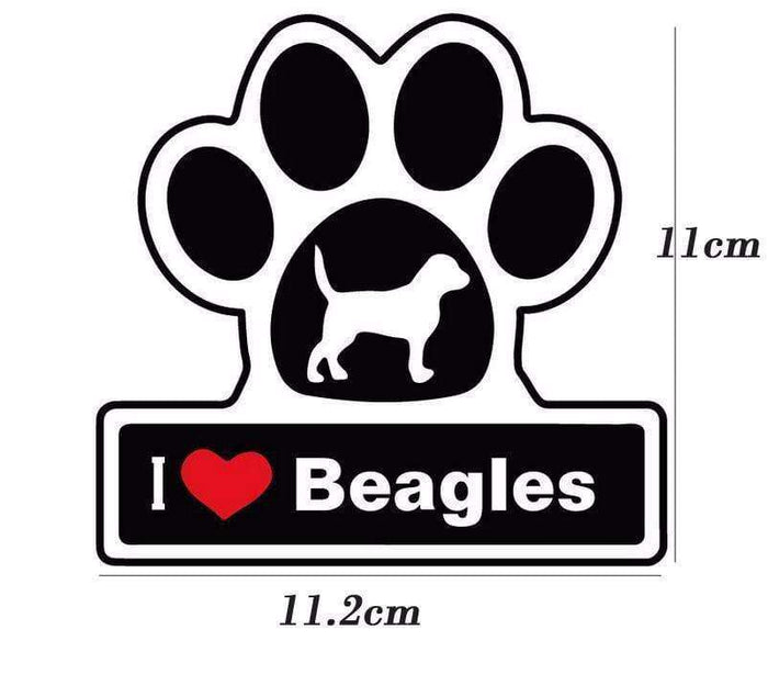 I LOVE BEAGLES DOG Paw Decal - Life is complete with Dogs