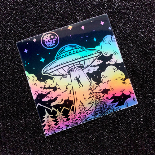 Alien Abduction sticker - holographic