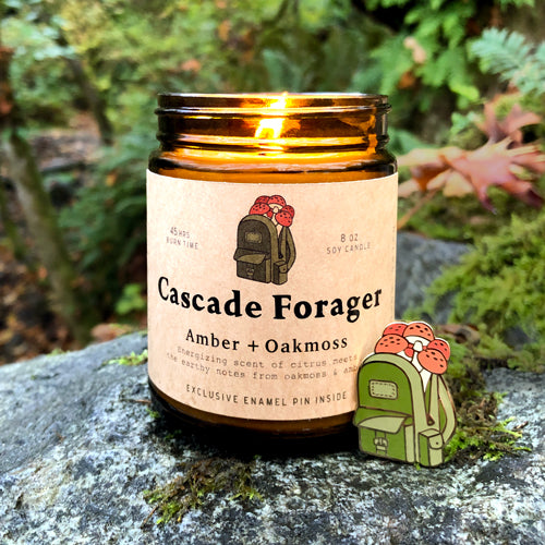 Cascade Forager - soy candle + enamel pin