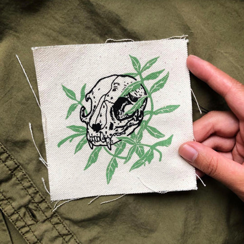 Cat Skull with Cat Nip canvas patch
