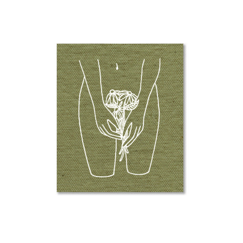 Flowers For Me olive canvas patch