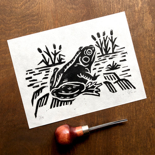 Frog by the Pond block print