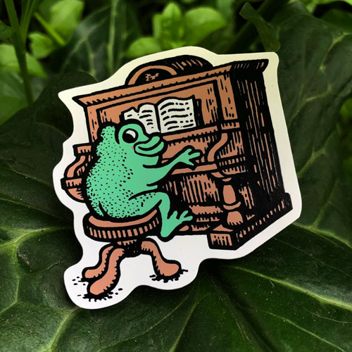 Frog at the Piano Sticker
