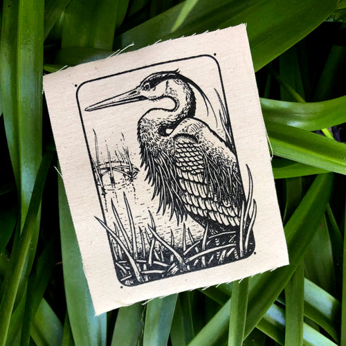 Heron canvas patch