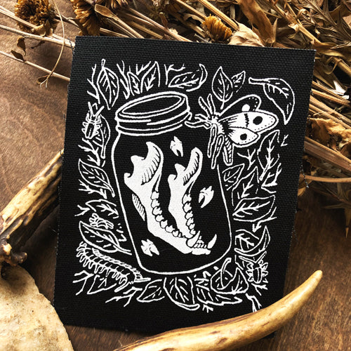 Jaw Bone in Jar canvas patch