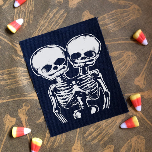 Conjoined Skulls canvas patch