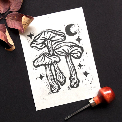 Three Mushrooms block print