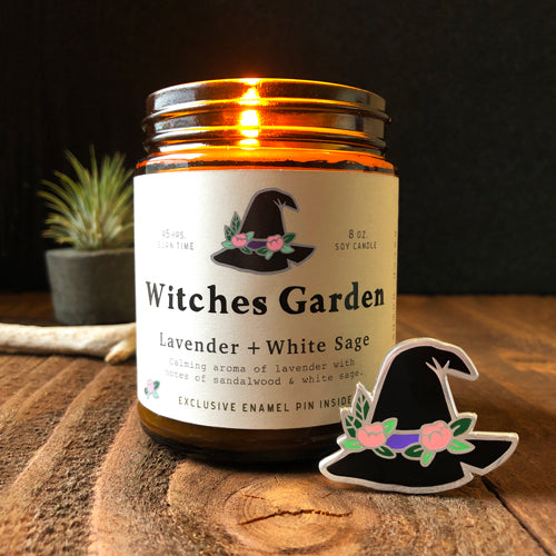 Witches Garden - soy candle + enamel pin